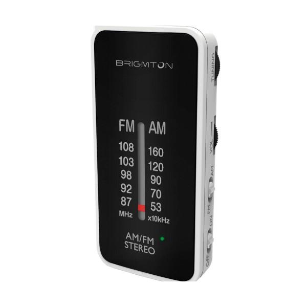 Brigmton bt-224-b blanco radio analógica am/fm portátil